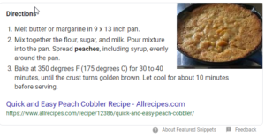 picture of Google recipe snippet